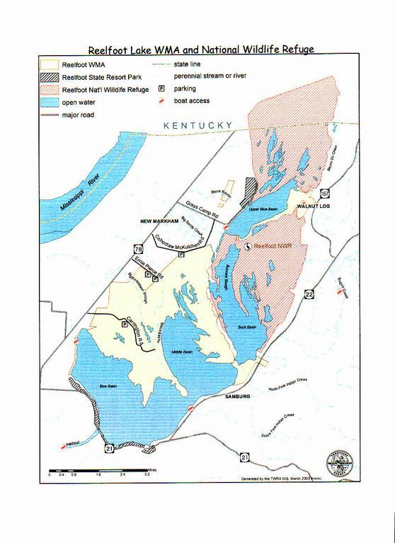 Map of TWRA,USFWS,TDEC Areas at Reelfoot Lake jpg from Reelfoot