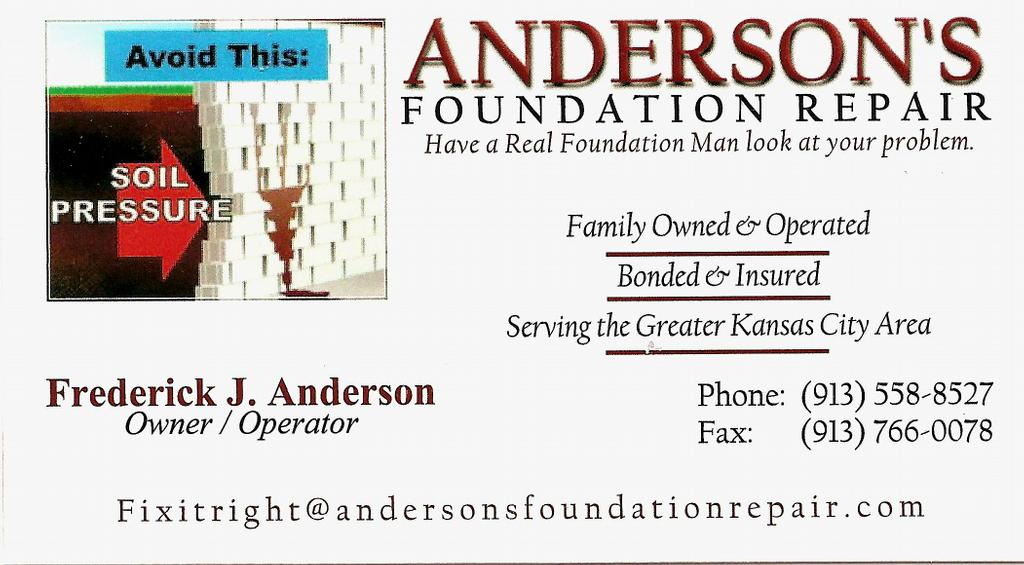 Front of business card from andersons foundation repair in kansas by andersons foundation repair reheart Choice Image