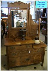 Antique Oak Dresser With Mirror Wash Stand Amp Towel Bar