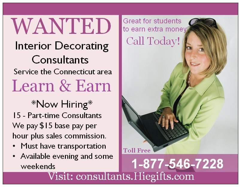 Now hiring decorating consultants home interior express - Interior decorator students for hire ...