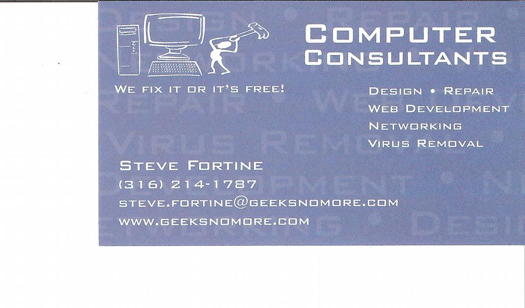 Steve fortine business card 002 from computer consultants llc in by computer consultants llc reheart Choice Image