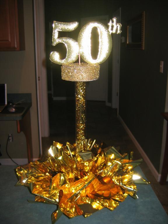 Custom 50th Centerpiece From Elegant Balloons LLC In Pearl