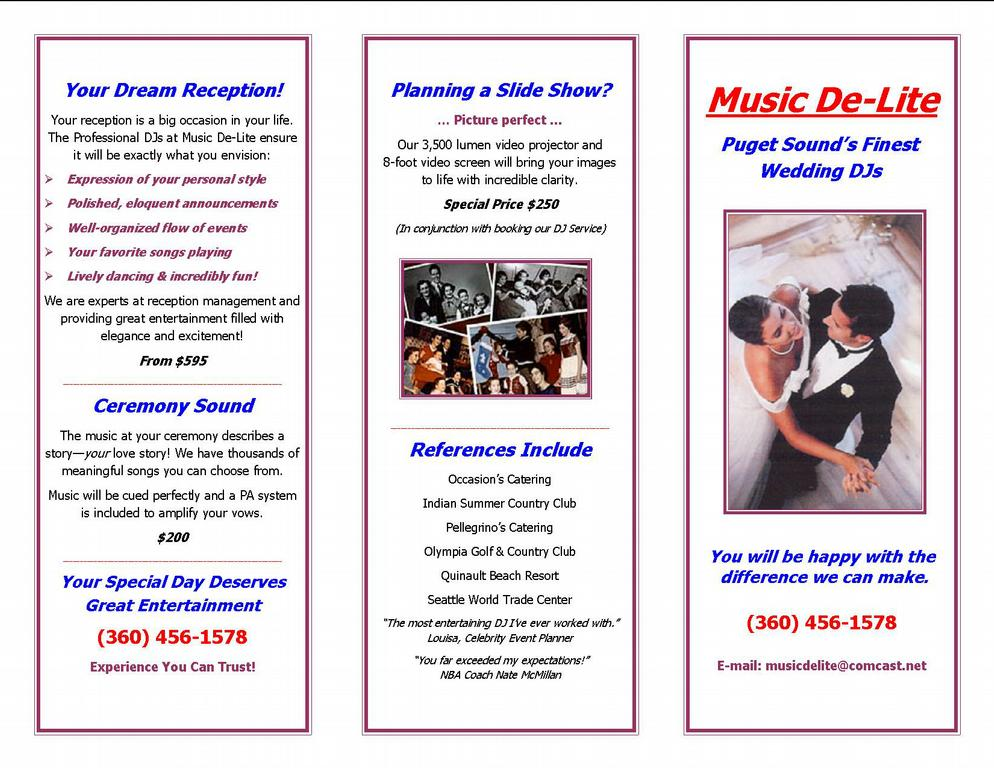 Music De-Lite ... Wedding DJ & MC Entertainment Brochure from ...