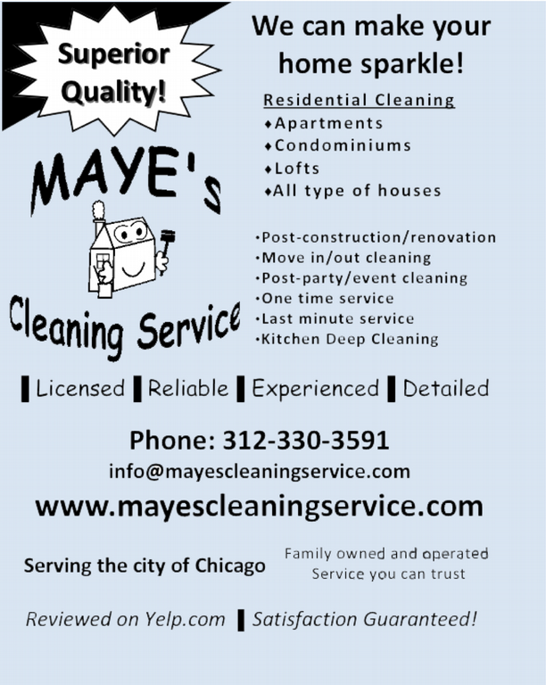 Residential Flyer New Blue Bckgrnd From Maye S Cleaning