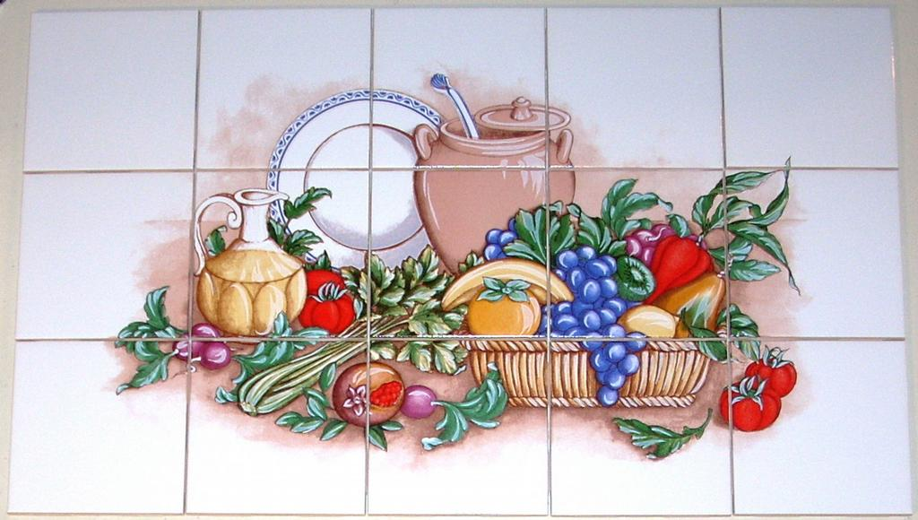 fruit and vegetable ceramic tile mural