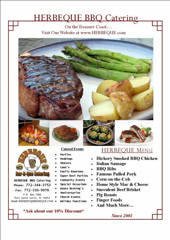 Advertisement Flyer from HERBEQUE BBQ Catering LLC in Port Saint ...