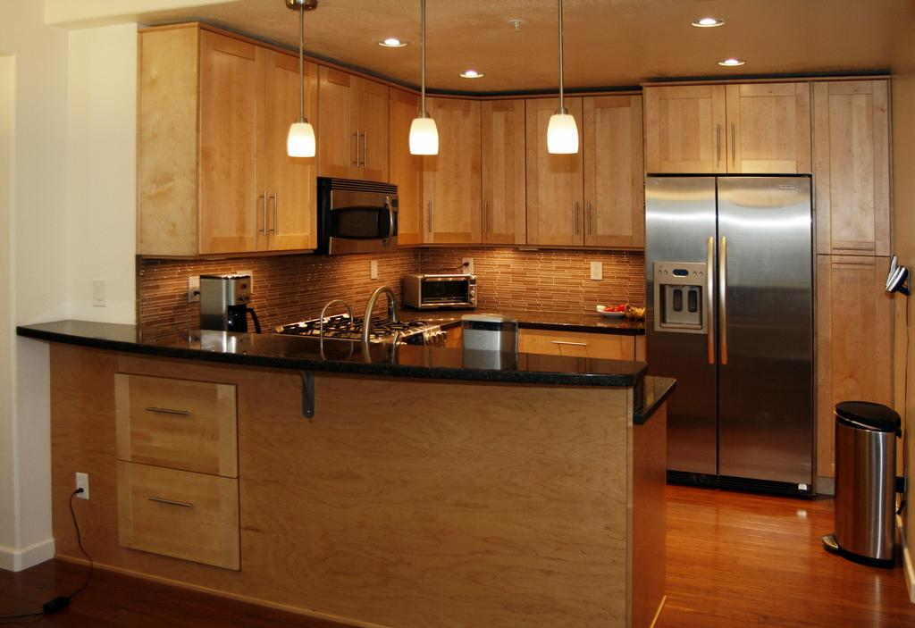 Maple cabinets with black granite kitchen reno pinterest for Maple cabinets