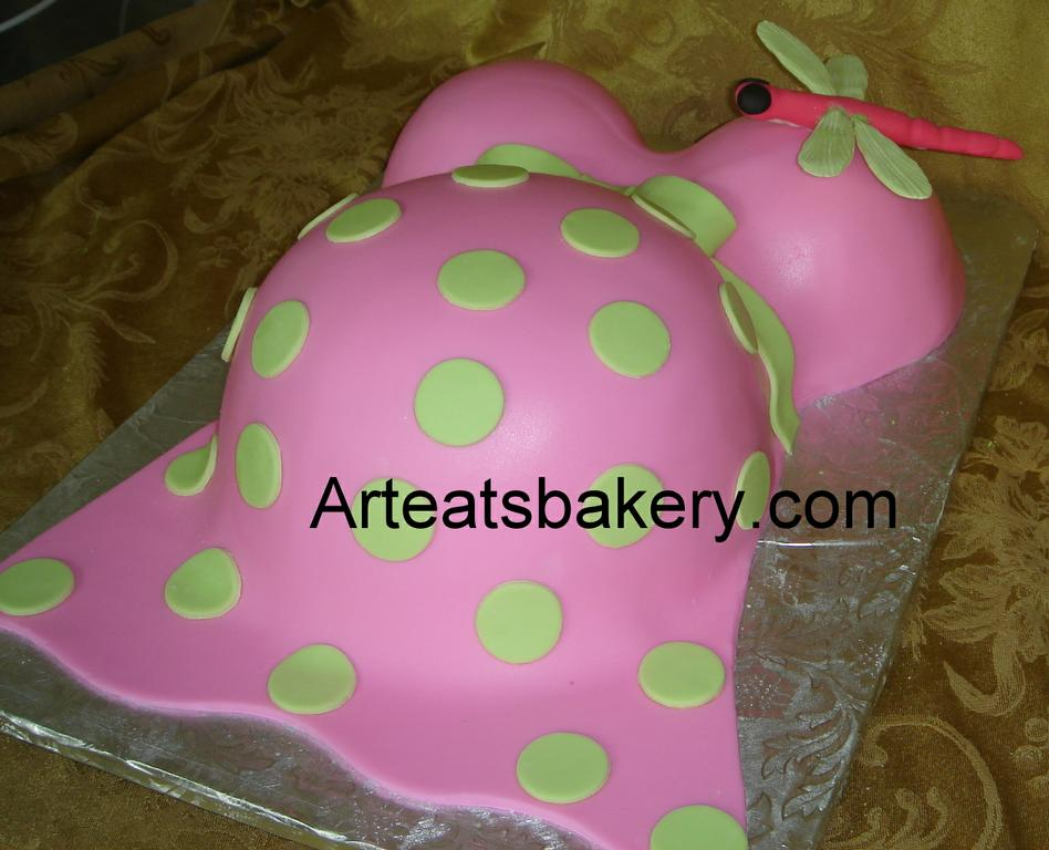 baby bump pink and green custom unique fondant baby shower design with