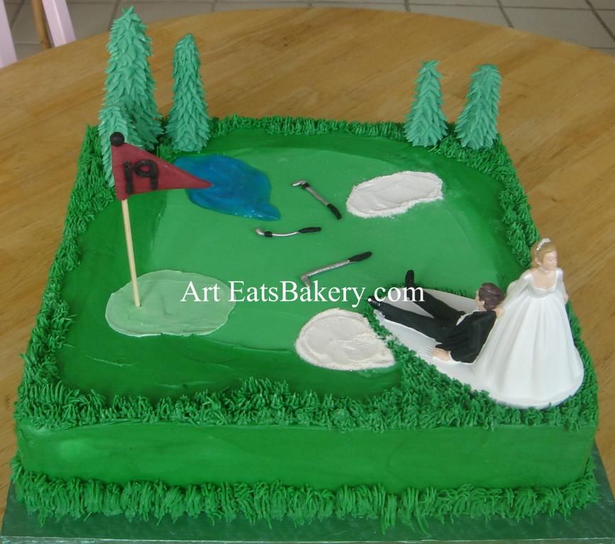Golf Course Cake Design : Creative golf course groom s cake design with edible trees ...