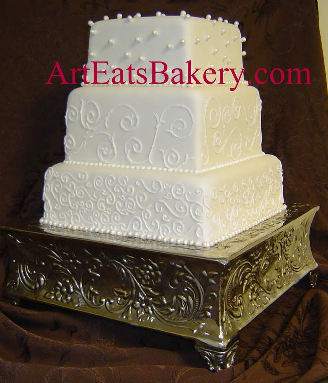 Of A Traditional Royal Iced Tiered Wedding Cake Crisp White Icing