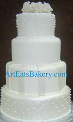 Modern Wedding Cake Toppers on Fondant Custom Modern Pearl  Stripes And Diamond Quilt Wedding Cake