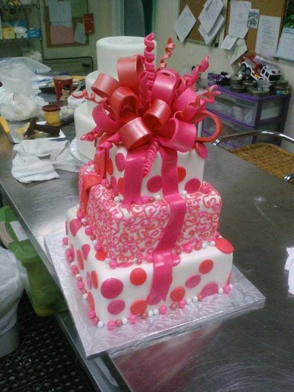 White Cake With Pink Polka Dots