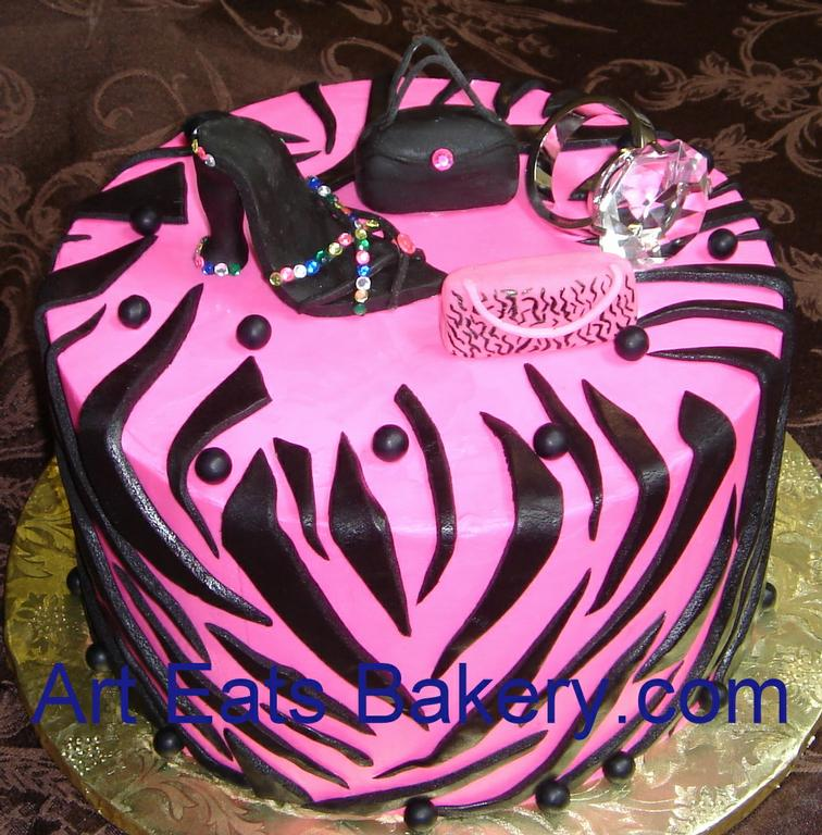 Pink and black zebra Diva birthday cake.jpg from Art Eats ...