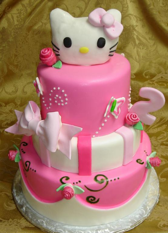 pink and white fondant custom designed hello Kitty 2nd birthday cake ...