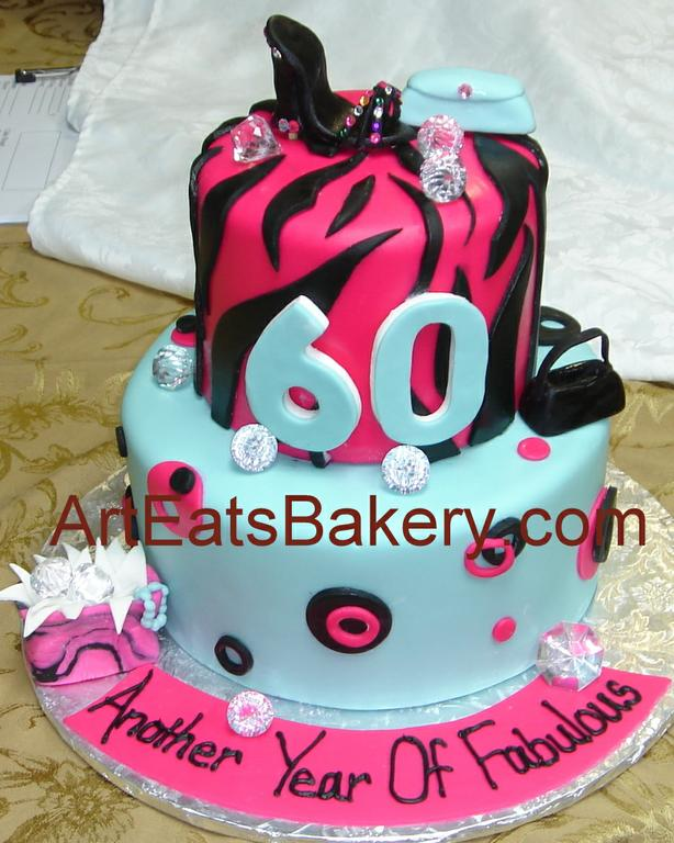 Hot Pink Zebra Cake With Shoe
