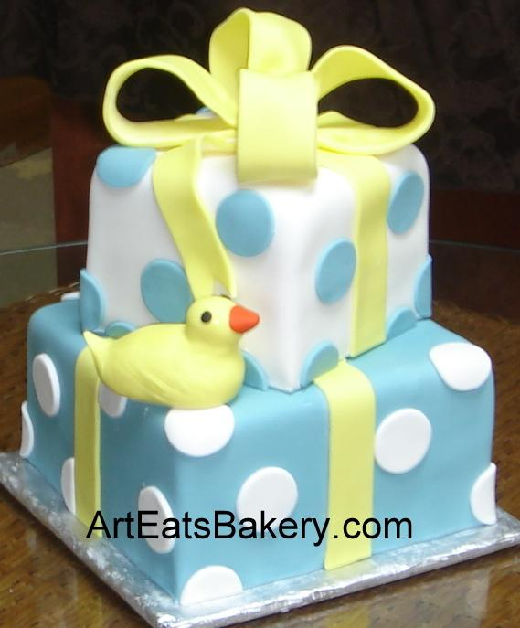 Two Tier Square Blue And White Polka Dot Fondant Custom