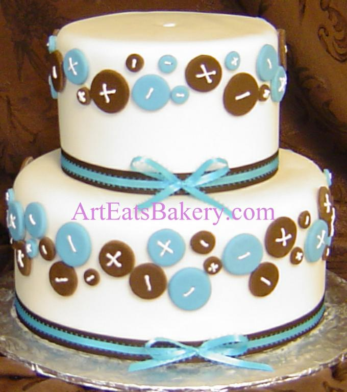 two tier white fondant unique custom baby shower cake with blue and