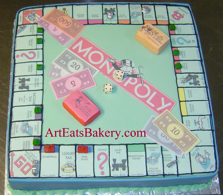 Unique Monopoly Board Game Birthday Cake With Edible Money
