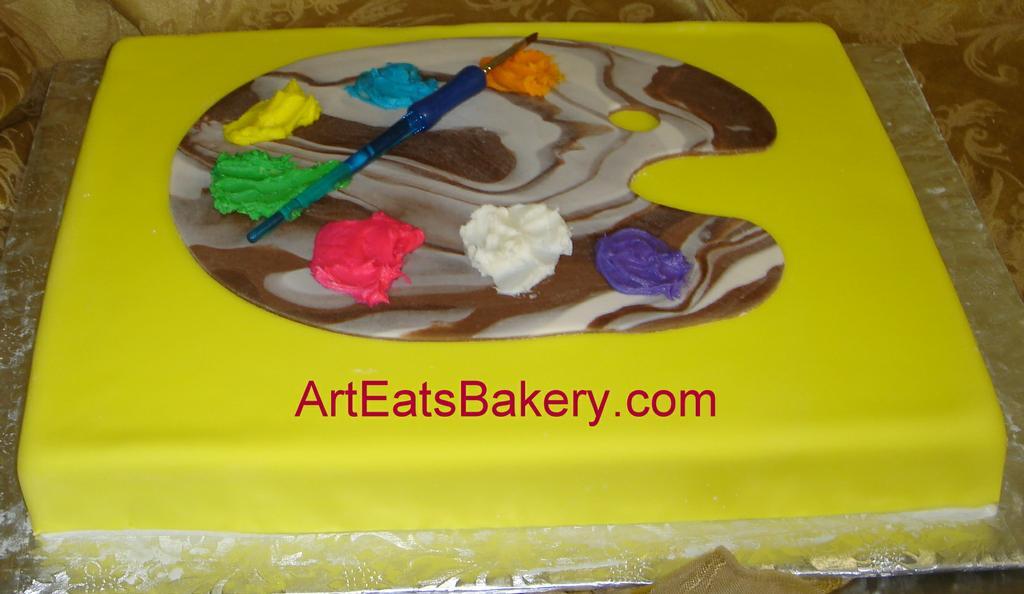custom yellow fondant painter s pallette kid s birthday ...