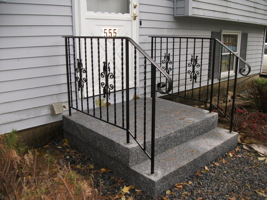 Custom Wrought Iron Handrails In Granite Steps From Mainely Handrails In Wate