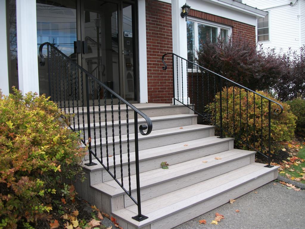 Custom Wrought Iron Handrails On Composite Steps From