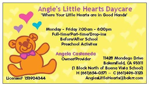Business Card From Angie S Little Hearts Daycare In Bakersfield