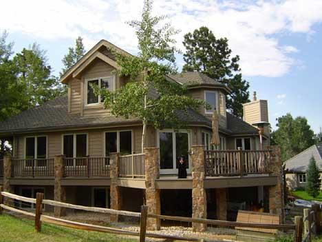 Mountain home painting from tall pines painting in golden - Mountain home exterior paint colors ...