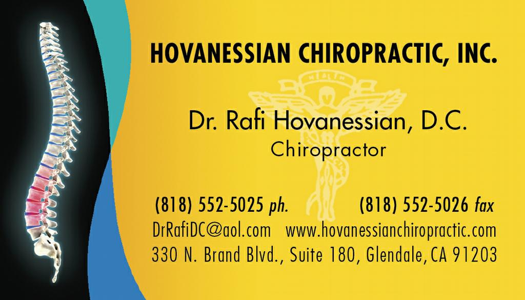 Hovanessian Chiropractic Business Card from Hovanessian Chiropractic ...