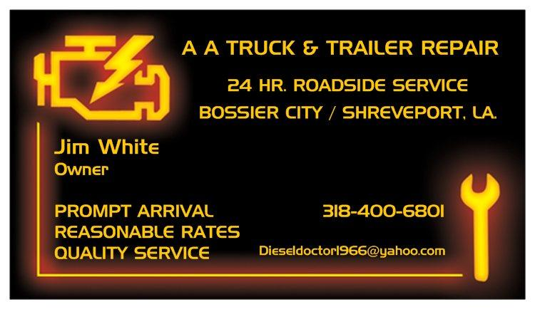 Business card aatt from a a truck and trailer repair in bossier city by a a truck and trailer repair reheart Image collections