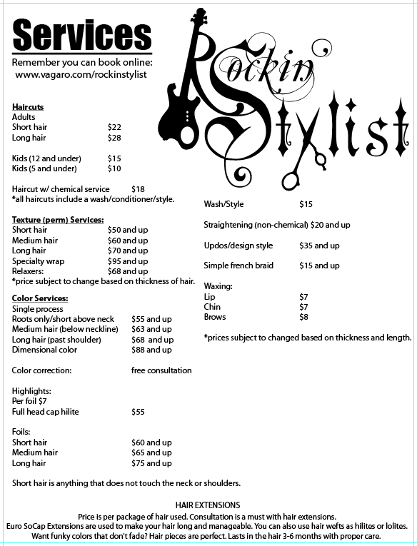 Salon service price list template images for About salon services