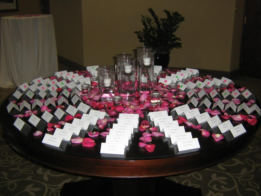 Place card table set up from special moments in pinellas park fl