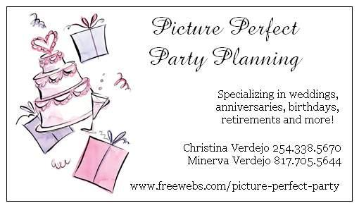 Business card from picture perfect party planning in killeen tx 76549 by picture perfect party planning colourmoves Images