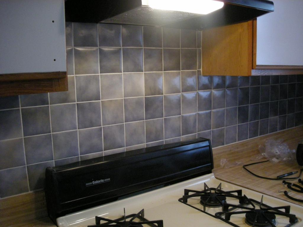 How to paint a tile backsplash my budget solution designer trapped intended for kitchen Ceramic tile kitchen backsplash