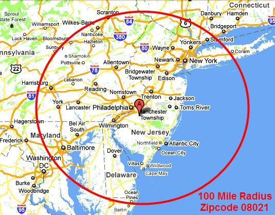 Map 08021 100 Mile Radius from PDQ Industrial Electric NJ PA DE MD on
