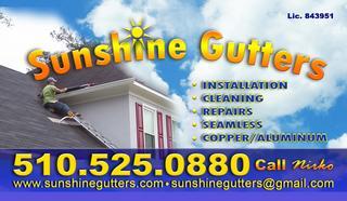 Sunshine Gutters Oakland Ca 94610 510 525 0880