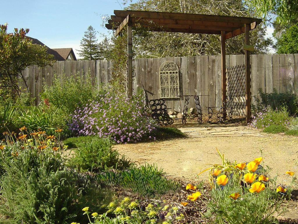 Colorful california native garden with decomposed granite path from