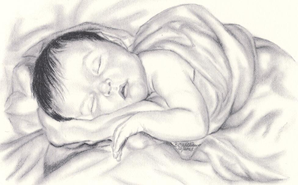 Sleeping baby_graphite pencil from Hand Drawn Portraits ...
