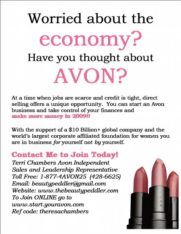 worried about the economy flyer from join avon nationwide direct