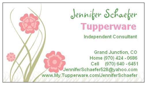 Tupperware w jen schaefer aka tupperjen grand junction co 81504 businesscard business card by tupperware colourmoves