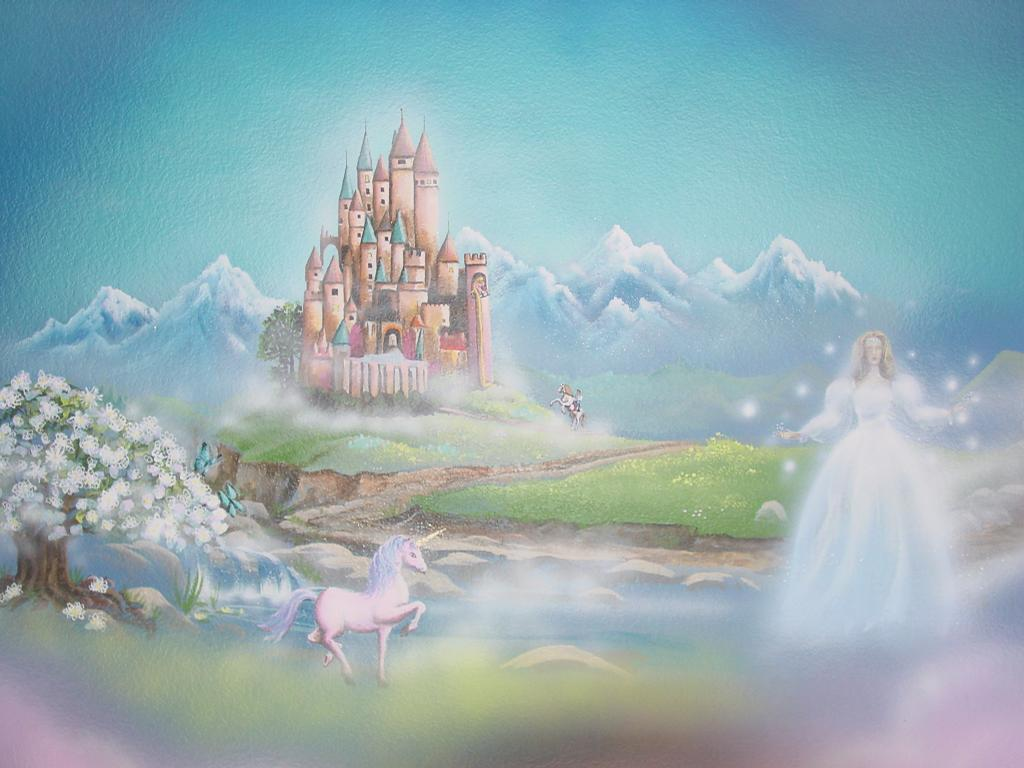 Fairytale mural with fairy and castle from skywoods for Castle mural wallpaper