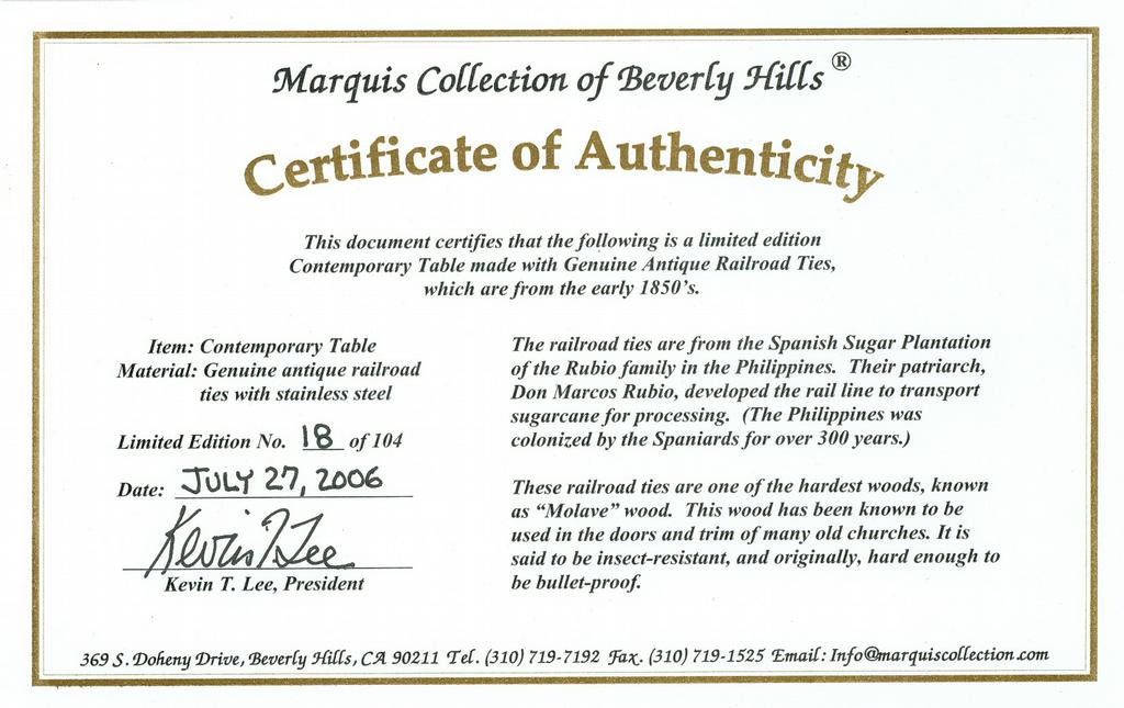 Certificate of authenticity spanish railroad ties from for Artist certificate of authenticity template