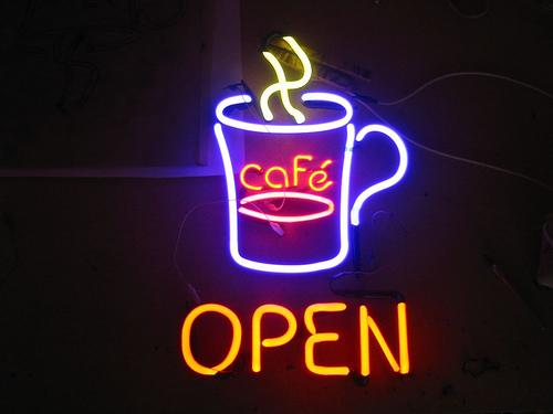 Cafe Open From Planet Neon Signs And Artwork In Two Rivers