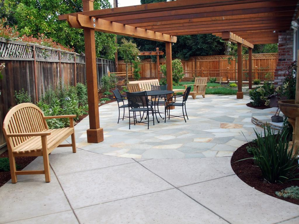 Flagstone Patio Amp Redwood Arbor From Evergreen Landscape