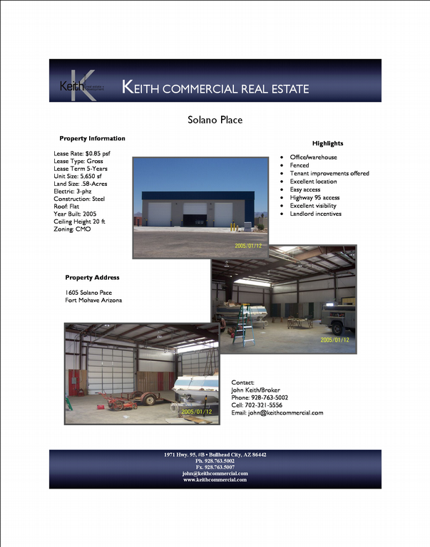 Marketing Flyer From Keith Commercial Real Estate In