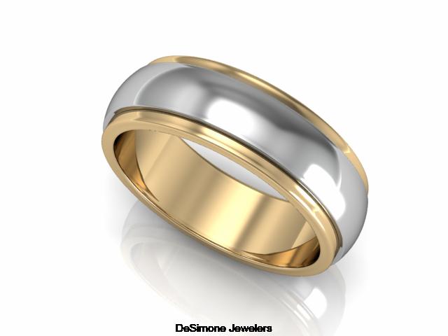 Two Tone Raised Wedding Band From DeSimone Jewelers In Philadelphia PA 19106