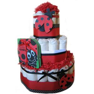 diaper-cake-red-lady-bug from Baby Shower Centerpieces - Diaper