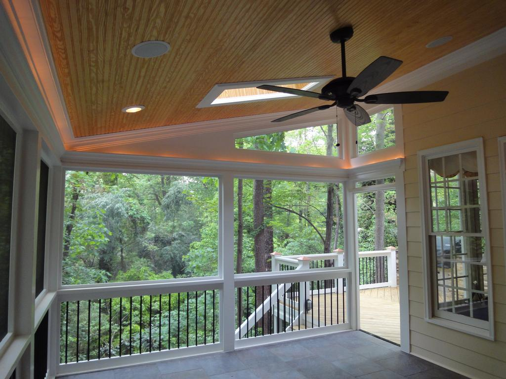 Raleigh screen porch rope lighting from cary deck for How to hang lights on patio ceiling