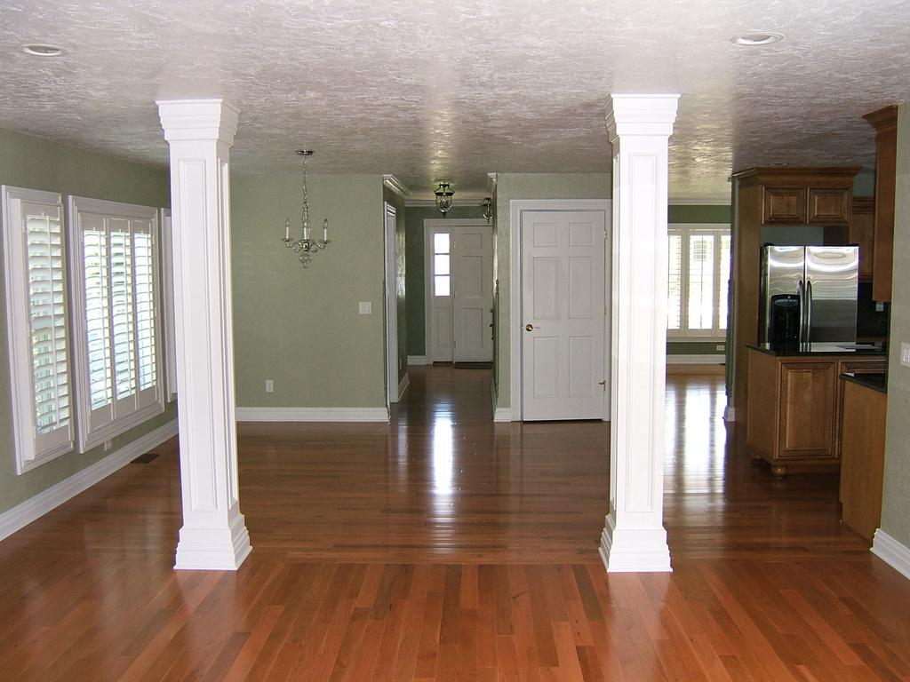 Media room columns interior decorating for Columns in houses interior