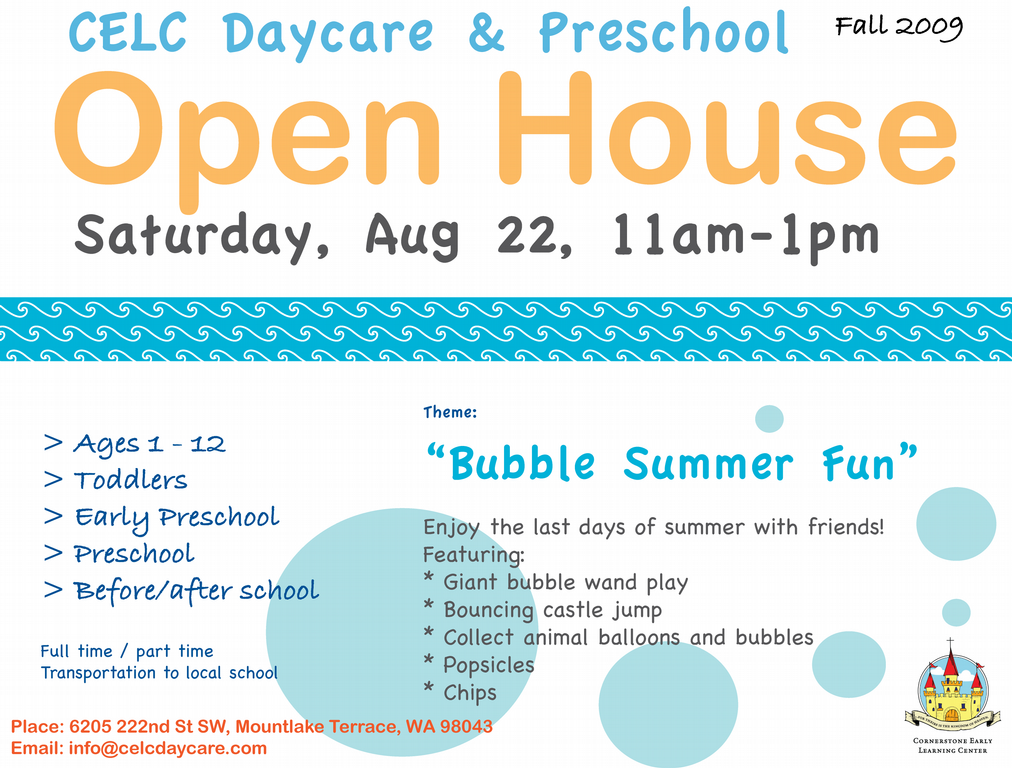 Celc Flyer Open House Aug 09 From Celc Daycare Amp Preschool