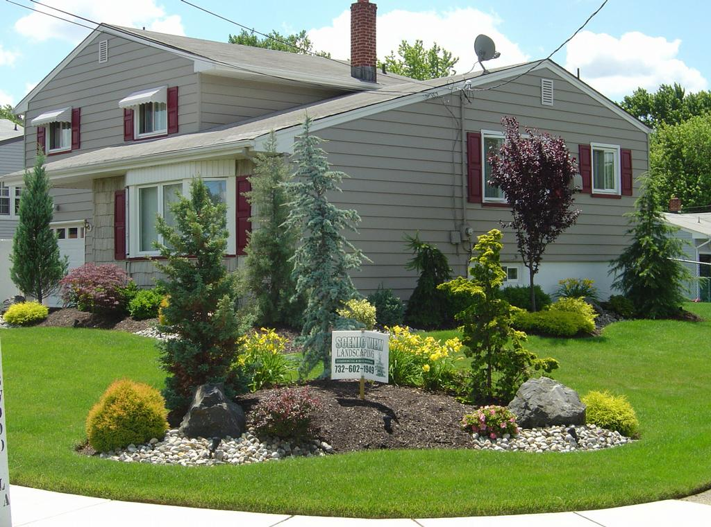 Picture provided by scenic view landscaping in port for Corner lot landscaping pictures